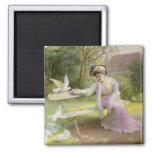 Feeding the Doves 2 Inch Square Magnet