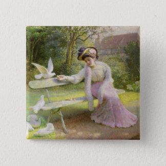 Feeding the Doves Pinback Button