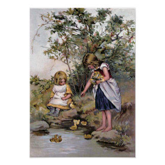 Feeding the Ducks Vintage Illustration Poster