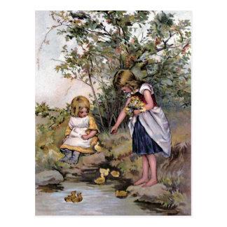 """Feeding the Ducks"" Vintage Postcards"