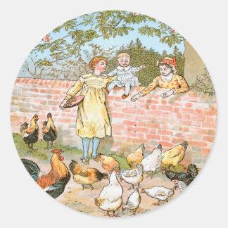 Feeding the Hens Classic Round Sticker