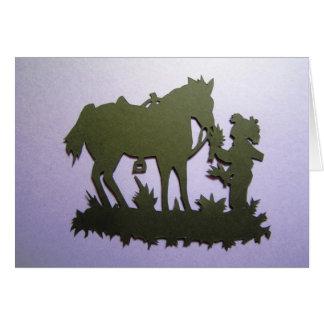 Feeding the horse greeting card
