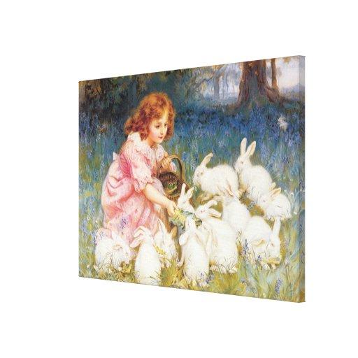 Feeding the Rabbits Canvas Print
