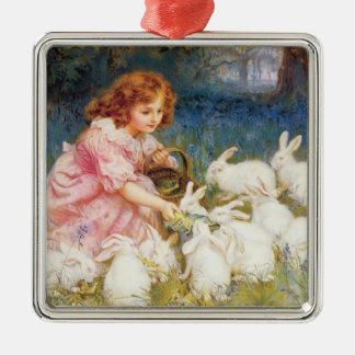 Feeding the Rabbits Metal Ornament