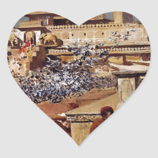 Feeding The Sacred Pigeons, Jaipur by Edwin Lord Heart Sticker