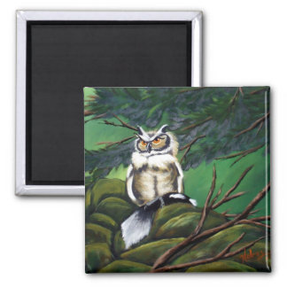 Feeding Time Owl 2 Inch Square Magnet