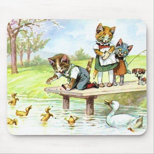 Feedinmg los patos tapetes de raton
