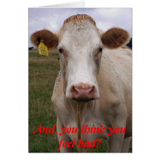 Feel Bad Cow Get Well Card