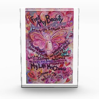 Feel Beauty Pink Cancer Angel Poem Paperweight Award