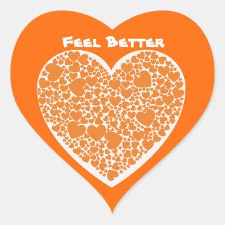 Feel Better, orange hearts on white & orange Heart Sticker