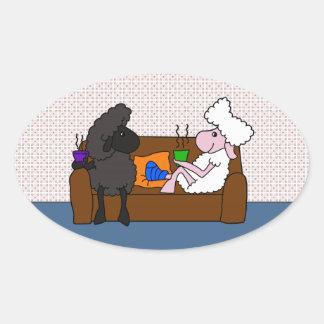 Feel Better Sheeple Oval Sticker