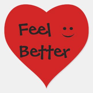 Feel Better Smile Red Heart Sticker
