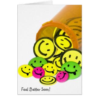 Feel Better Soon Happy Face Pills Card