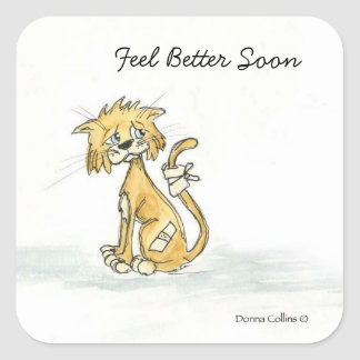 Feel Better Soon Kitty Square Sticker