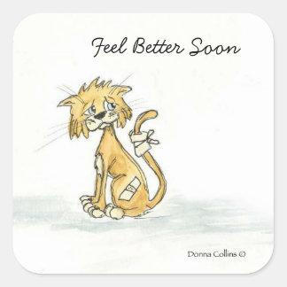 Feel Better Soon Kitty Square Sticker