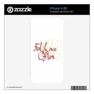 Feel Love Often Skins For The iPhone 4