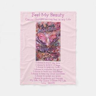 Feel My Beauty Cancer Poem Angel Fleece Blankets