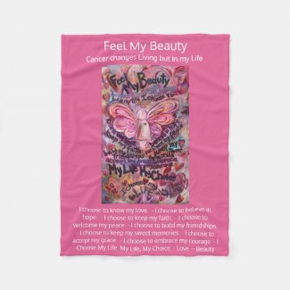 Feel My Beauty Cancer Poem Pink Angel Soft Blanket
