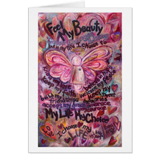 Feel My Beauty Pink Cancer Angel Card