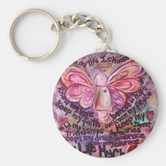 Feel My Beauty Pink Cancer Angel Keychain
