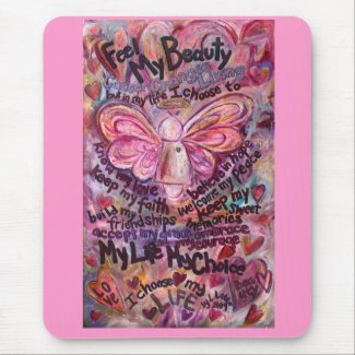 Feel My Beauty Pink Cancer Angel Mousepad