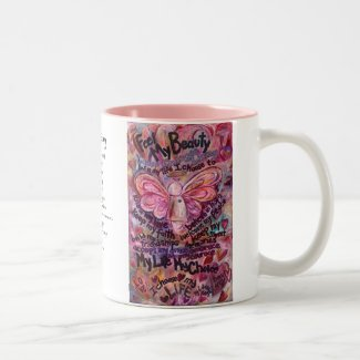 Feel My Beauty Pink Cancer Angel Mug