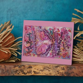 Feel My Beauty Pink Cancer Angel Painting Plaque