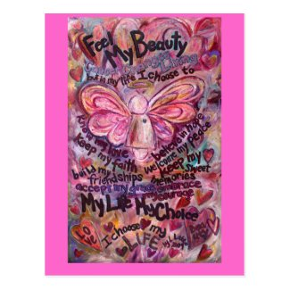 Feel My Beauty Pink Cancer Angel Postcard