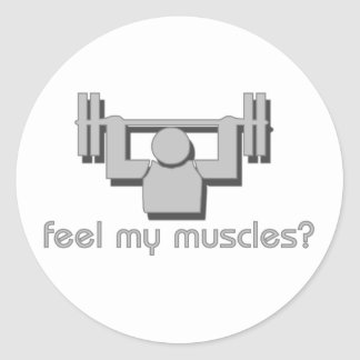 Feel My Muscles Classic Round Sticker