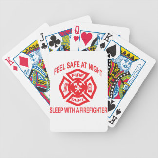 Feel Safe at Night Sleep With a Firefighter Tee Sh Bicycle Playing Cards