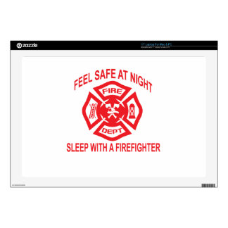 """Feel Safe at Night Sleep With a Firefighter Tee Sh Decals For 17"""" Laptops"""