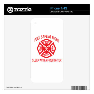 Feel Safe at Night Sleep With a Firefighter Tee Sh Decals For The iPhone 4