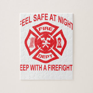 Feel Safe at Night Sleep With a Firefighter Tee Sh Jigsaw Puzzle