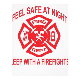 Feel Safe at Night Sleep With a Firefighter Tee Sh Letterhead