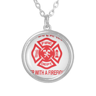 Feel Safe at Night Sleep With a Firefighter Tee Sh Silver Plated Necklace