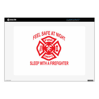 Feel Safe at Night Sleep With a Firefighter Tee Sh Skin For Laptop