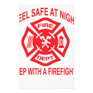 Feel Safe at Night Sleep With a Firefighter Tee Sh Stationery