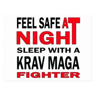 Feel safe at night sleep with a krav maga fighter postcard