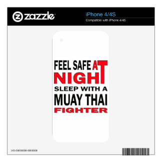 Feel safe at night sleep with a Muay Thai fighter Skins For iPhone 4