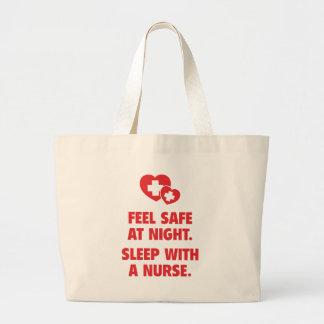 Feel Safe At Night. Sleep With A Nurse. Canvas Bags