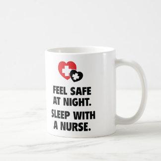 Feel Safe At Night. Sleep With A Nurse. Classic White Coffee Mug