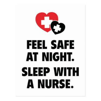 Feel Safe At Night. Sleep With A Nurse. Postcard