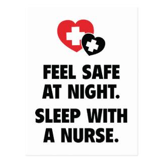 Feel Safe At Night. Sleep With A Nurse. Postcard