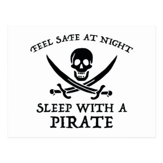Feel Safe At Night. Sleep With A Pirate. Postcard