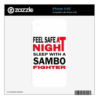 Feel safe at night sleep with a Sambo fighter Skins For The iPhone 4
