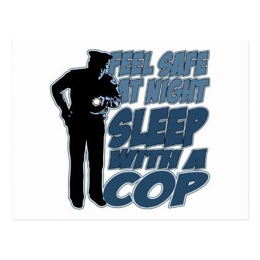 Feel Safe, Sleep with a Cop Postcard