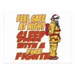 Feel Safe, Sleep with a Firefighter Postcard
