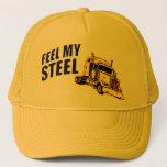 """feel steel trucker hat<br><div class=""""desc"""">steel. feel it.</div>"""