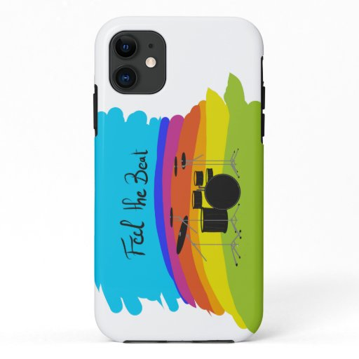 Feel the beat drumset - rainbow iPhone 11 case