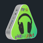 """Feel The Beat Headphones Pieladium Speakers<br><div class=""""desc"""">Spice up any party with this Feel The Beat Headphones Pieladium Speaker, a portable Bluetooth speaker that delivers undeniably bold sound. Feel The Beat Headphones Pieladium Speaker features bright yellow green background, a black silhouette of headphones and colorful decorative text Fee The Beat. Perfect gift for anyone who loves Music....</div>"""